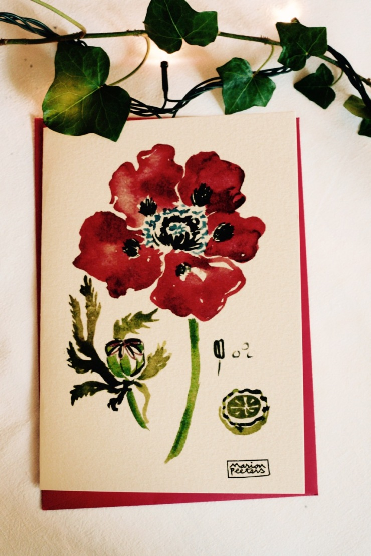 1#illustrationmarion peeters #cartesaquarelle#leverger#coquelicot
