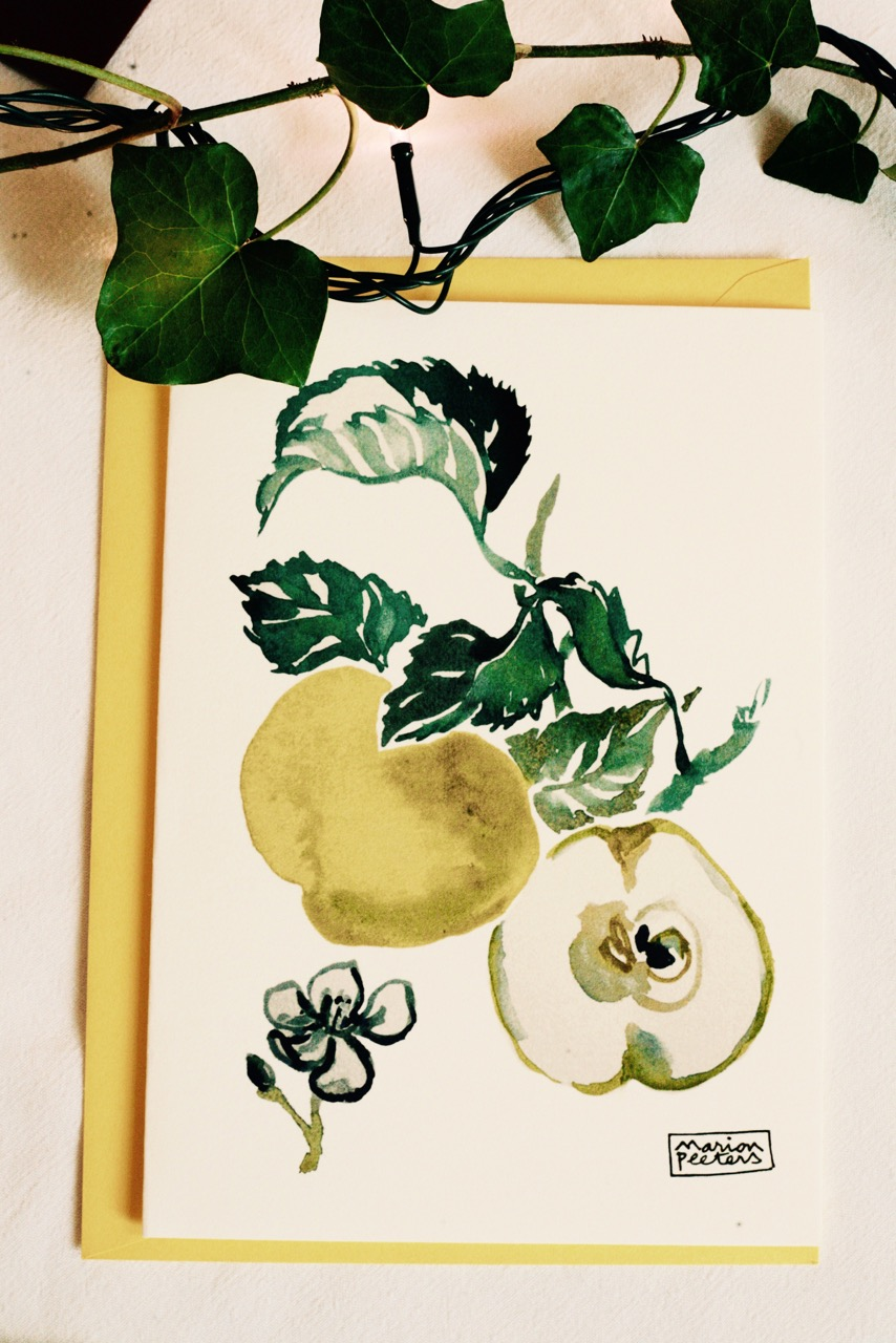 2#illustrationmarion peeters #cartesaquarelle#leverger#pommesjaunes