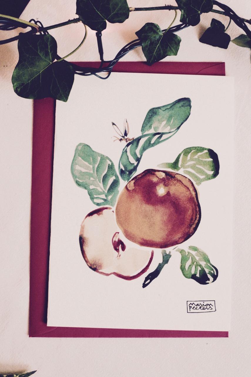 2#illustrationmarion peeters #cartesaquarellepomme