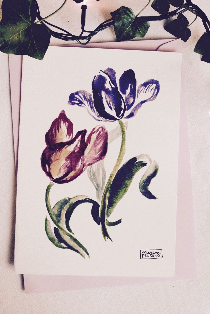 3#illustrationmarionpeeters #cartesaquarelle#leverger#tulipes
