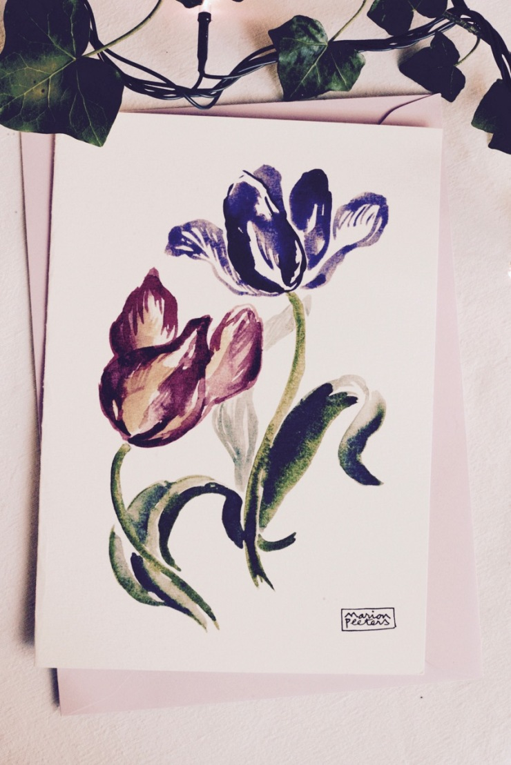 3#illustrationmarionpeeters #cartesaquarelle#leverger#tulipes