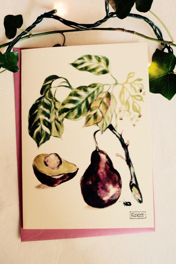 5#illustrationmarionpeeters #cartesaquarelle#jardinexotique#avocat