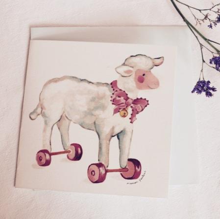 #illustrationmarionpeeters #cartesaquarelle#naissance#jouetsanciens#agneau