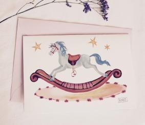 #illustrationmarionpeeters #cartesaquarelle#naissance#jouetsanciens#chevalbascule
