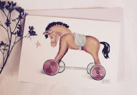 #illustrationmarionpeeters #cartesaquarelle#naissance#jouetsanciens#chevalroulettes