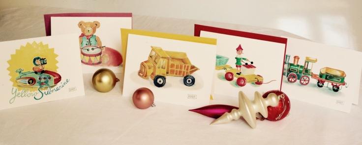 #illustrationmarionpeeters #cartesaquarelle#naissance#jouetsvintage