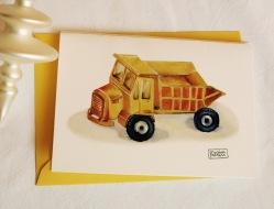 #illustrationmarionpeeters #cartesaquarelle#naissance#jouetsvintage#camionbenne