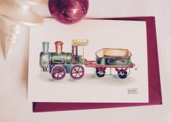 #illustrationmarionpeeters #cartesaquarelle#naissance#jouetsvintage#locomotive