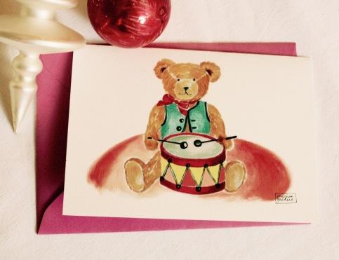 #illustrationmarionpeeters #cartesaquarelle#naissance#jouetsvintage#ourstambour