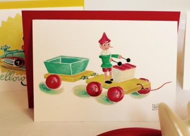 #illustrationmarionpeeters #cartesaquarelle#naissance#jouetsvintage#pinochio