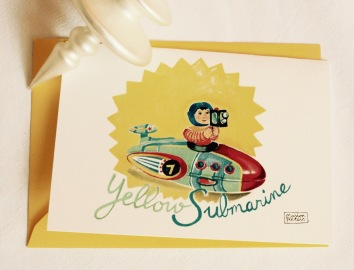 #illustrationmarionpeeters #cartesaquarelle#naissance#jouetsvintage#submarine