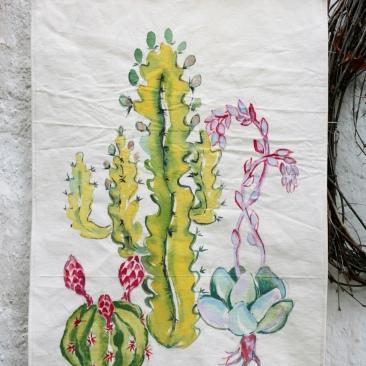 « succulentes » 45x70 cm – toile de coton épaisse – 75€