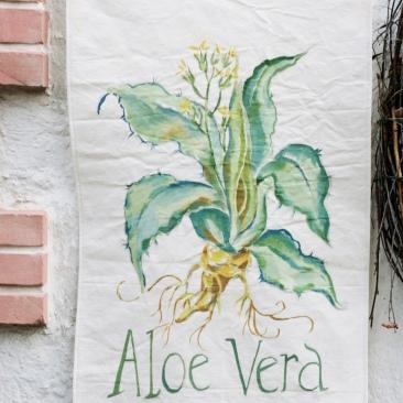 « aloe véra » 45x70 cm – toile de de coton épaisse – 75€