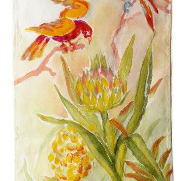 « perruche ananas » 45x70 cm – toile de coton épaisse – 75€