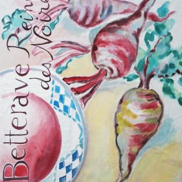"""tenture """"betterave reine noire"""" 60x90cm -peinture à la main sur toile de coton et lin beige - 75€"""