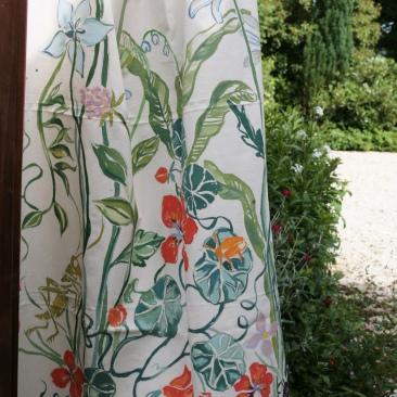 « capucines trefles » 120x180 cm – toile coton épaisse – 200€