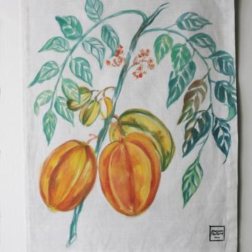 « caramboles» 45x70 cm – dessus lin blanc, doublé coton vert céladon – 75€