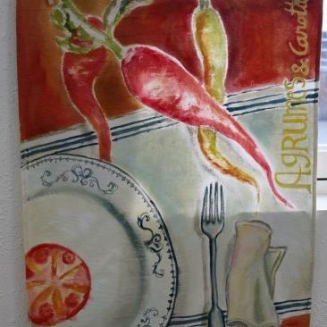 """tenture """"carottes soupe"""" 60x90cm -peinture à la main sur toile de coton écru - 75€"""