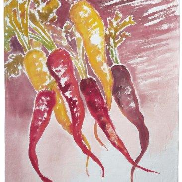 """tenture """"carottes anciennes"""" 60x90cm -peinture à la main sur toile de coton écru - 75€"""