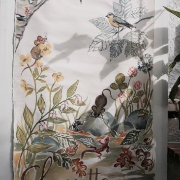 « chouette et mulot » 70x150 cm – toile coton épaisse – 200€
