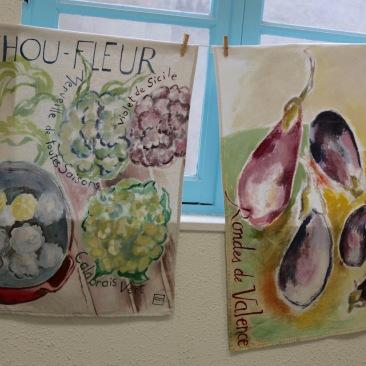 """tenture """"choux fleur"""" 60x90cm -peinture à la main sur toile de coton et lin beige - 75€"""