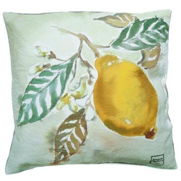 """""""citron"""" - 40x40cm - coton métis (50% coton/ 50%lin) - dos en lin - 45€ (coussin non fourni)"""