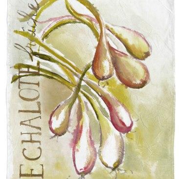 """VENDU - tenture """"échalotes"""" 60x90cm -peinture à la main sur toile de coton écru - 75€"""