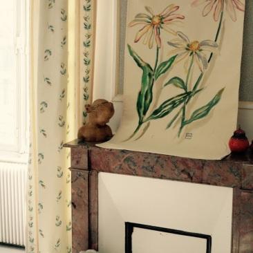 « échinacée » 70x150 cm – toile coton épaisse – 150€