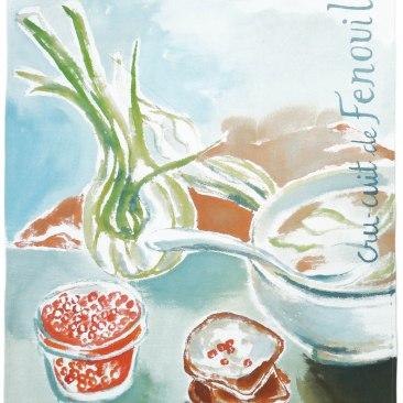 """tenture """"fenouil cru cuit"""" 60x90cm -peinture à la main sur toile de coton écru - 75€"""