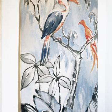 « feuillages monochrome » 70x150 cm – toile coton épaisse – 150€