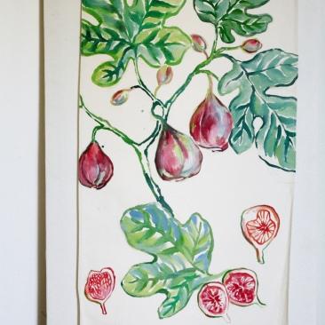 « figuier rouge » 70x150 cm – toile coton épaisse – 150€