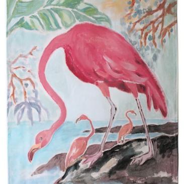 « flamant rose » 45x70 cm – toile de coton épaisse – 75€