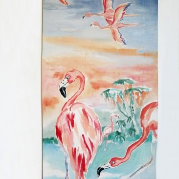 « flamants roses » 70x150 cm – toile coton épaisse – 150€