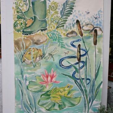 « grenouille et crapaud » 70x150 cm – toile coton épaisse – 200€