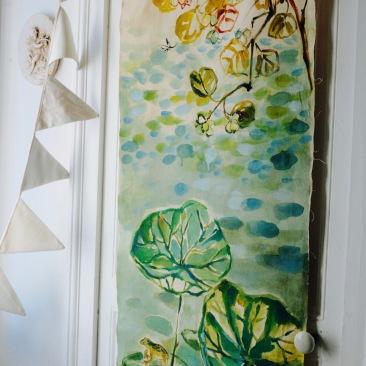 « lotus du Japon » 60x150 cm – toile de coton métis écru – 150€