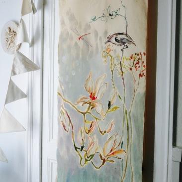 «magnolia du Japon » 60x150 cm – toile de coton métis écru – 150€