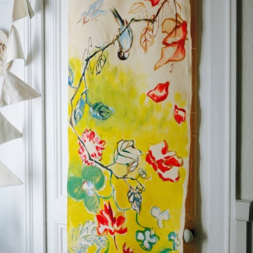 « pétales du Japon » 60x150 cm – toile de coton métis écru – 150€