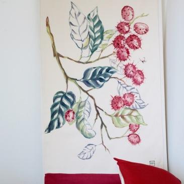 « litchies » 70x150 cm – toile de coton épaisse – 150€