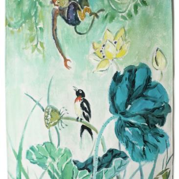 « lotus ouistiti » 45x70 cm – toile de coton épaisse – 75€