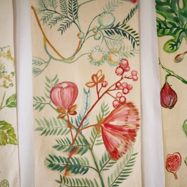 « mimosa rose » 70x150 cm – toile de coton métis – 150€