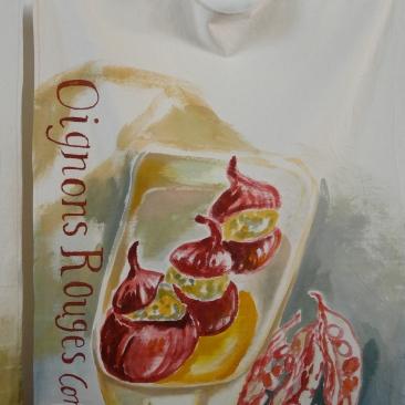 """VENDU - tenture """"oignons rouges"""" 60x90cm -peinture à la main sur toile de coton écru - 75€"""