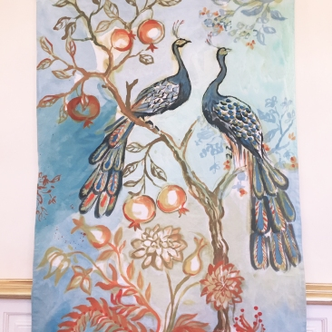 «couple paons » 100x180 cm – toile de coton métis – 200€