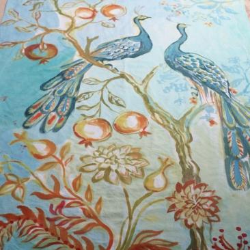 « couple paons » 100x180 cm – toile de coton métis – 200€