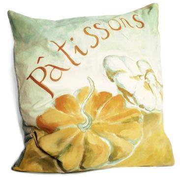 """""""pâtissons"""" - 65x65cm - coton métis (50% coton/ 50%lin) dos coton lin texturé - 55€ (coussin non fourni)"""