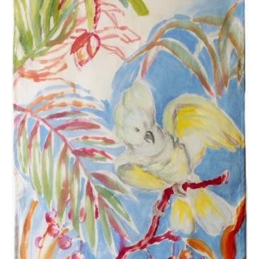 « cacatoès à crête jaune » 45x70 cm – toile de coton épaisse – 75€