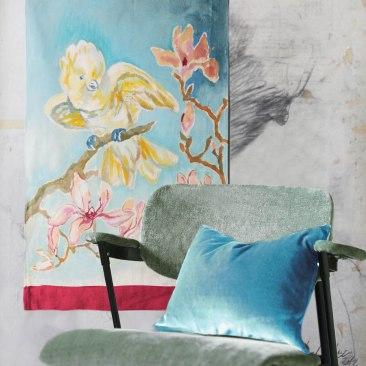 « cacatoès magnolia » 45x70 cm – toile de coton épaisse – 75€