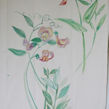 « pois de senteur » 70x150 cm – toile de coton épaisse – 150€