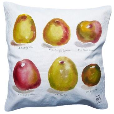 """""""variétés pommes"""" - 50x50cm - coton métis (50% coton/ 50%lin) - dos en coton rouge - 48€ (coussin non fourni)"""