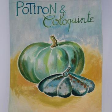 """VENDU - tenture """"potiron et coloquinte"""" 45x70cm -peinture à la main sur toile de coton écru, doublée lin gris - 85€"""