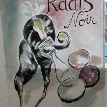"""VENDU - tenture """"radis noir"""" 60x90cm -peinture à la main sur toile de coton écru - 75€"""